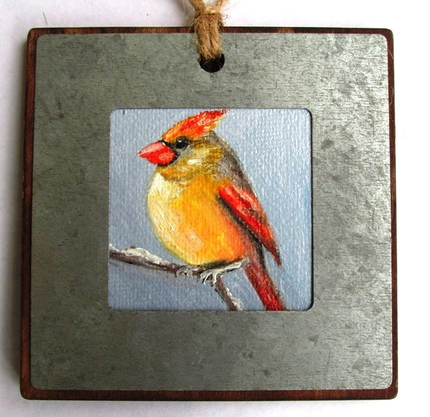 """Lady Cardinal Ornament"" original fine art by Ruth Stewart"