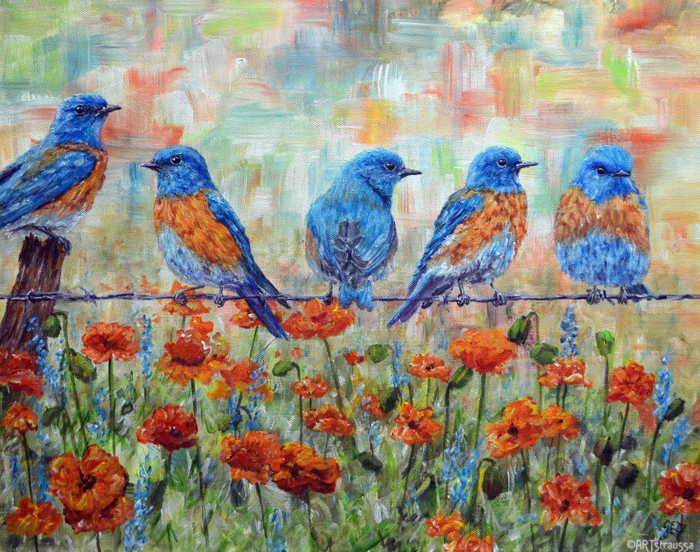 """Bluebird Bachelors"" original fine art by Gloria Ester"