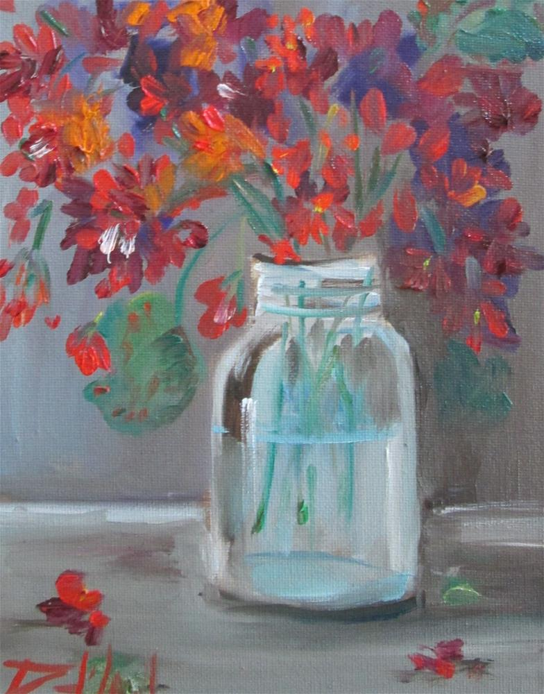 """Geraniums in a Fruit Jar"" original fine art by Delilah Smith"