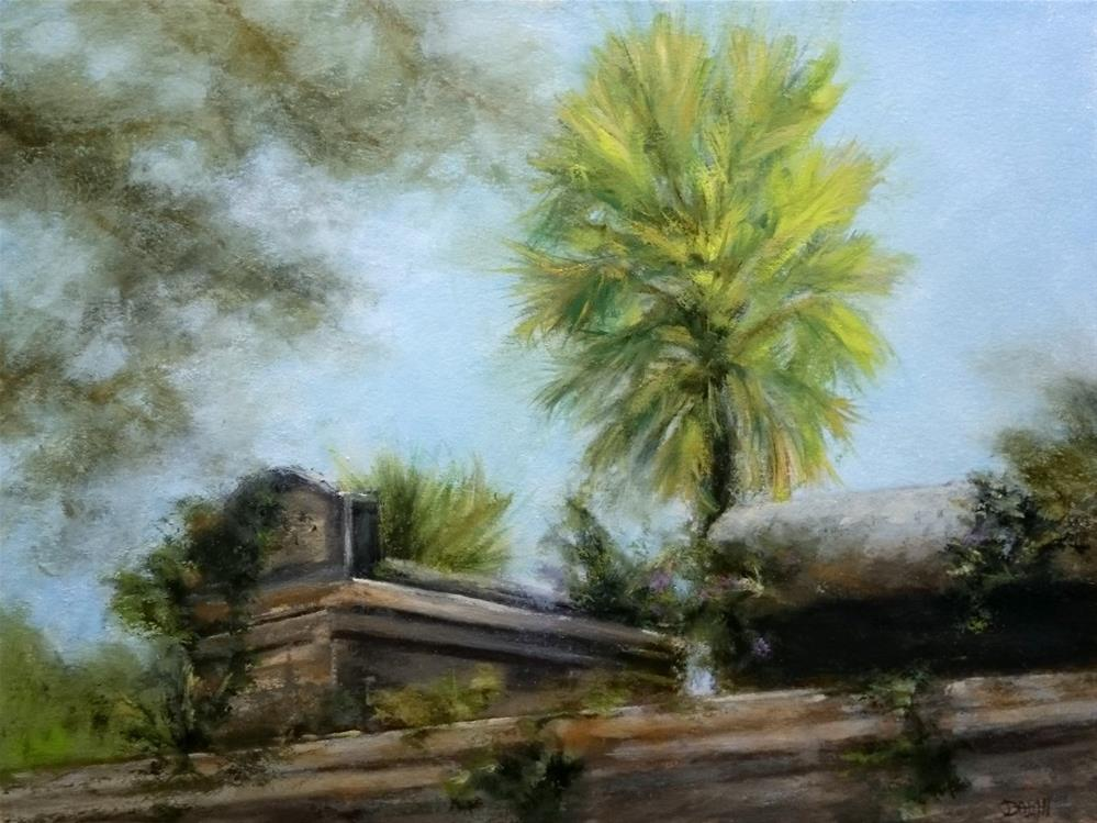 """""""Over The Cemetery Wall"""" original fine art by Dalan Wells"""