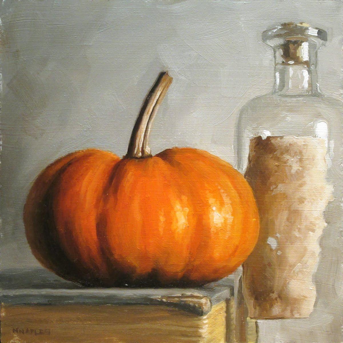 """Pumpkin with Bottle"" original fine art by Michael Naples"