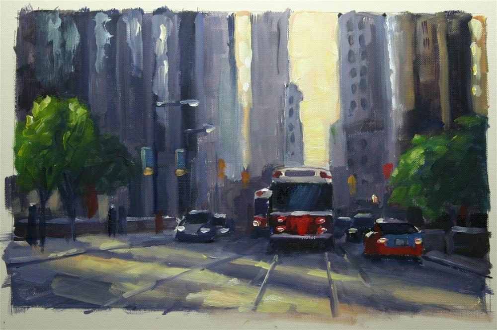"""""""Late Afternoon Shadows, Financial District, Toronto"""" original fine art by Catherine Jeffrey"""