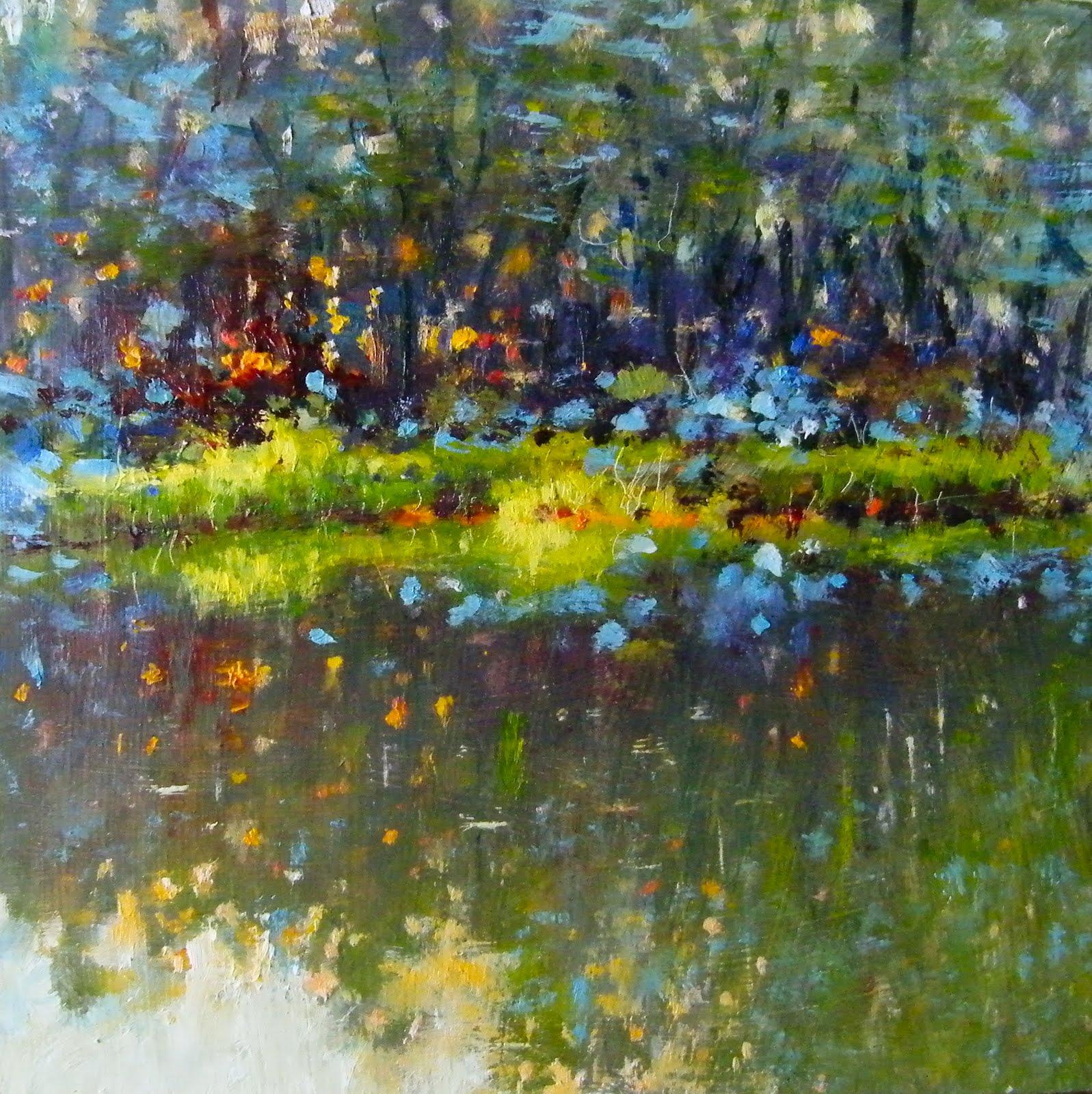 """""""Evening Light on Yvon's Pond"""" original fine art by Ken Devine"""