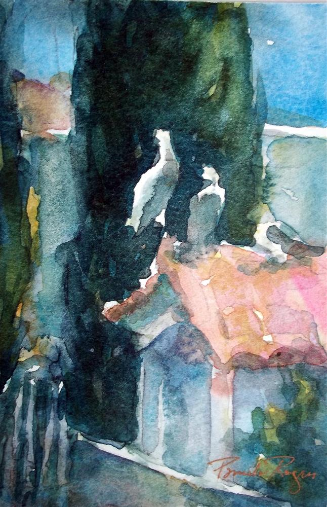 """Doves and dovecote"" original fine art by Pamela Jane Rogers"