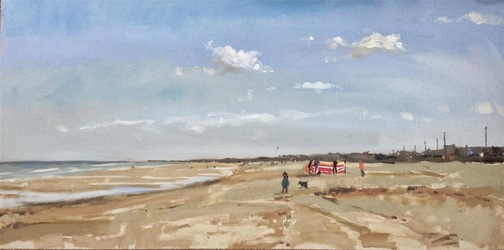 """End of summer, Sutton-on-sea"" original fine art by Haidee-Jo Summers ROI"