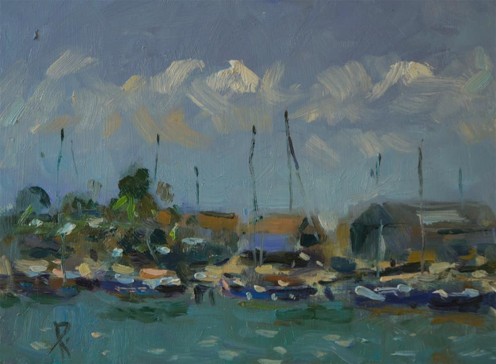"""""""Boats on the Arun"""" original fine art by Andre Pallat"""