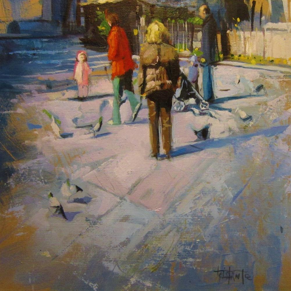 """Playing with the pigeons"" original fine art by Víctor Tristante"