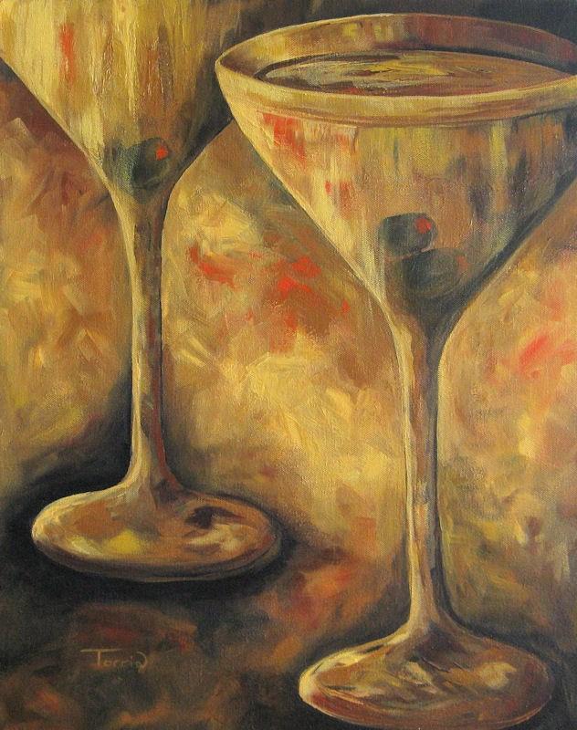 """Golden Martinis"" original fine art by Torrie Smiley"