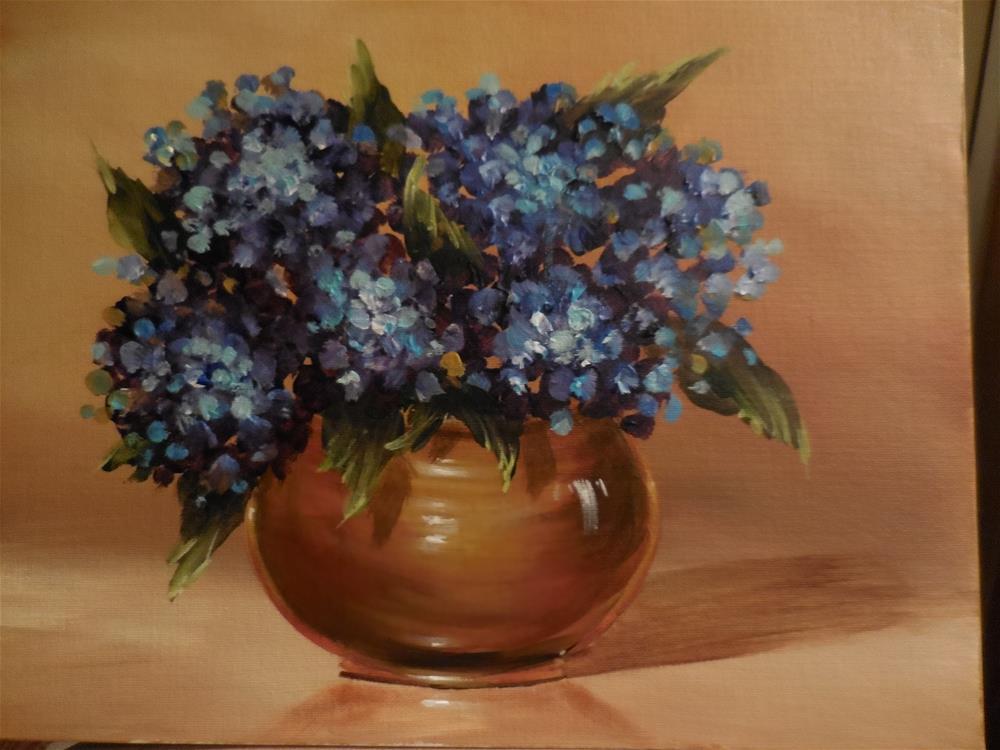 """Hydrangea in a Brass Pot"" original fine art by Terri Nicholson"