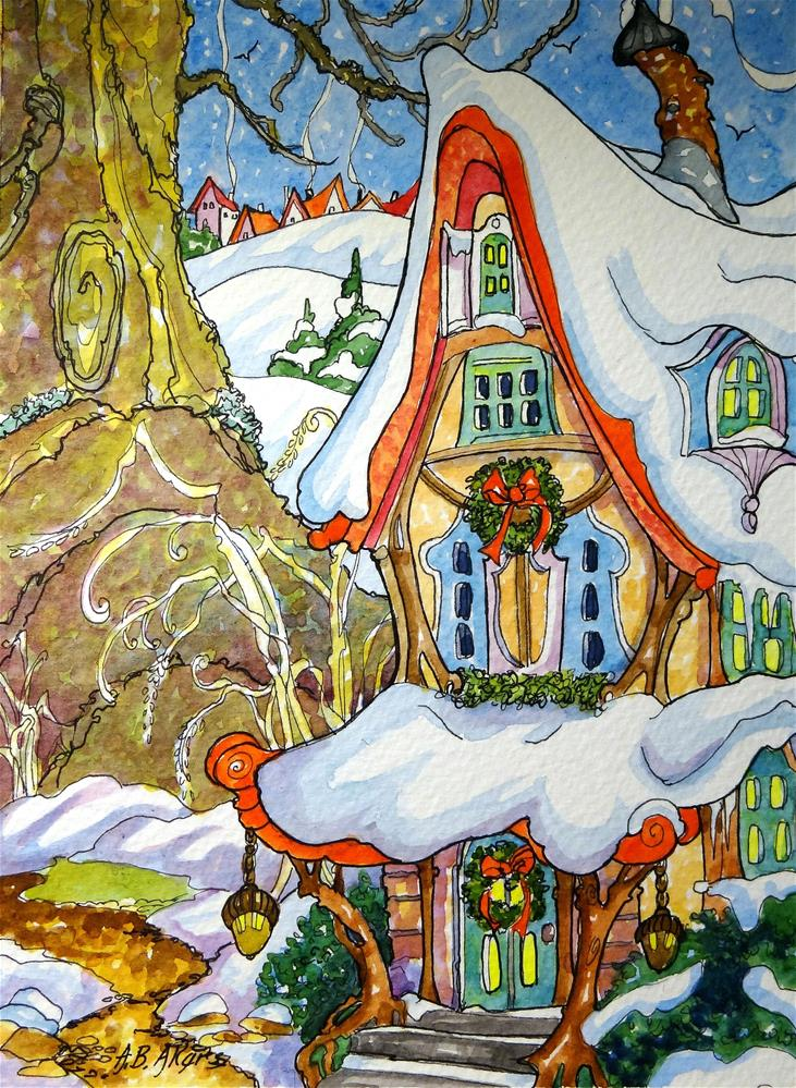 """""""The Fairy Inn Come Wintertide Storybook Cottage Series"""" original fine art by Alida Akers"""