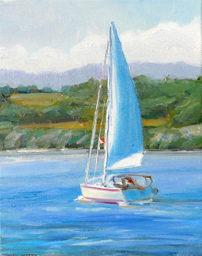 """Sunny Day Sail,seascape,oil on canvas,10x8,price$400"" original fine art by Joy Olney"