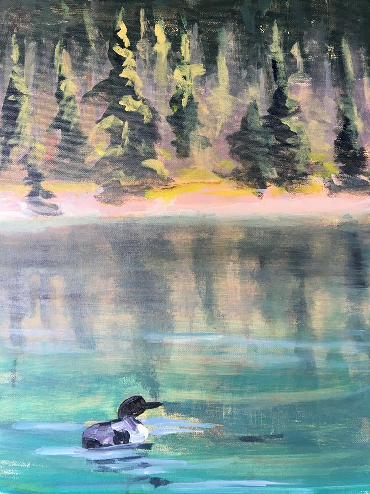 """Lone Loon"" original fine art by Susan Elizabeth Jones"
