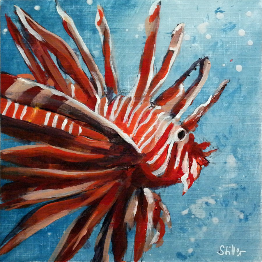 """2647 Red Lionfish"" original fine art by Dietmar Stiller"