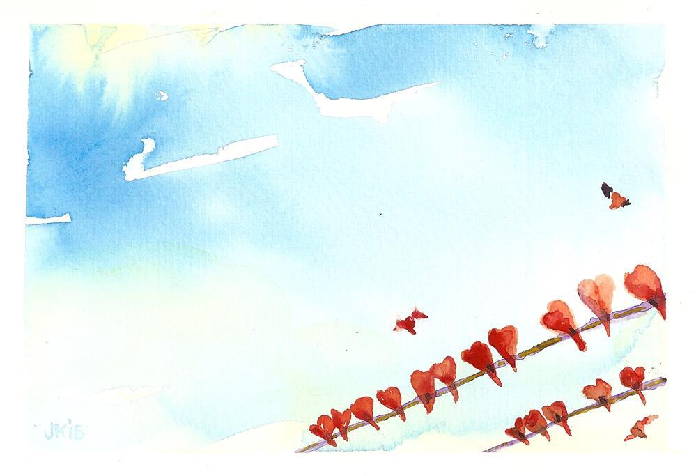 """""""Flock of Hearts"""" original fine art by Jean Krueger"""