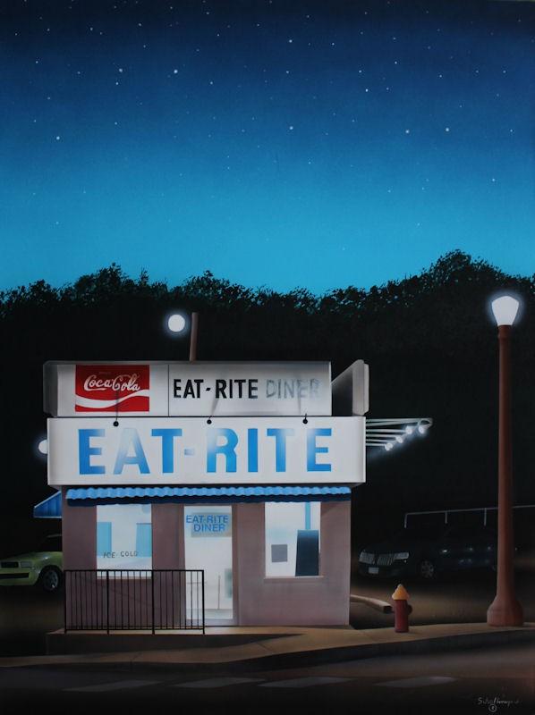 """Eat Rite Diner at Dawn"" original fine art by Fred Schollmeyer"