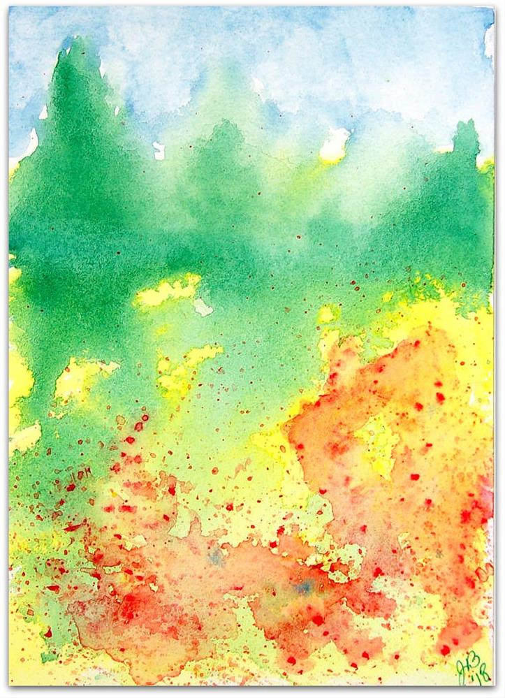 """""""Landscape Study in Yellow and Green"""" original fine art by Jan Burch"""