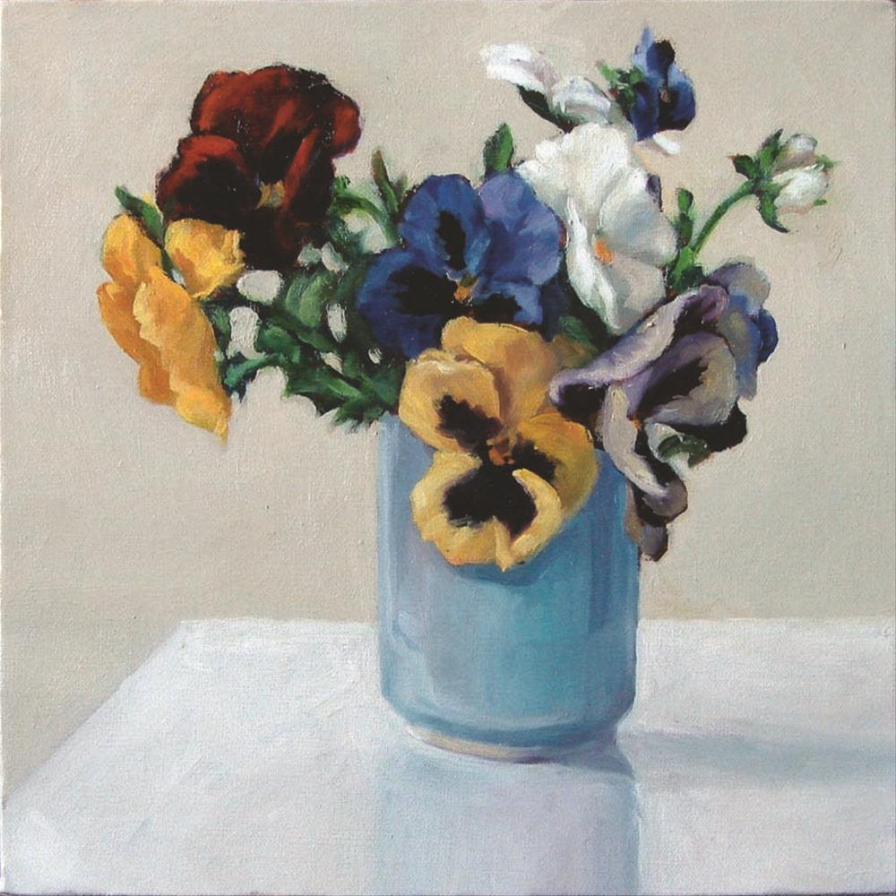 """""""Pansies in ceramic"""" original fine art by Myriam Kin-Yee"""
