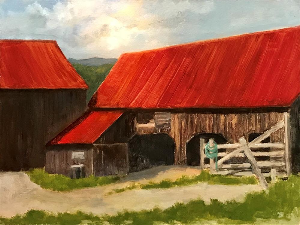 """Sunshine on the red roof"" original fine art by Betty Argiros"