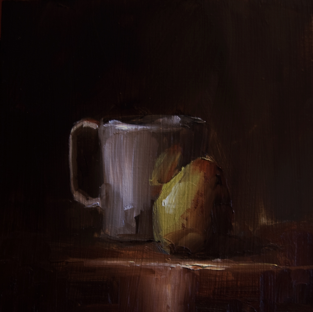 """""""Cup and Pear"""" original fine art by Neil Carroll"""