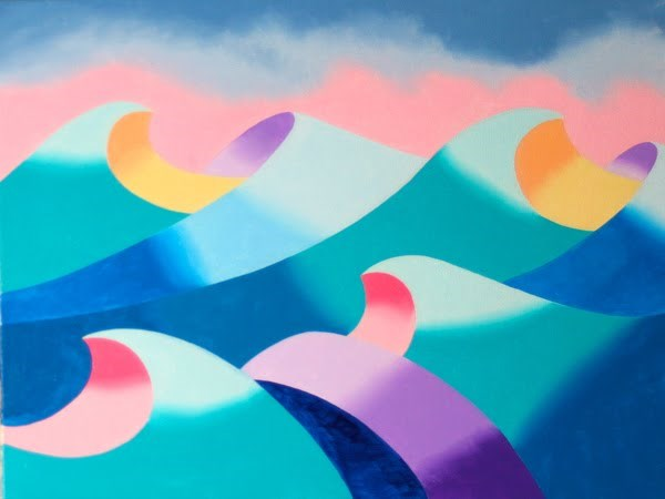 """Mark Webster - Abstract Geometric Ocean Seascape Oil Painting 2012-04-26"" original fine art by Mark Webster"