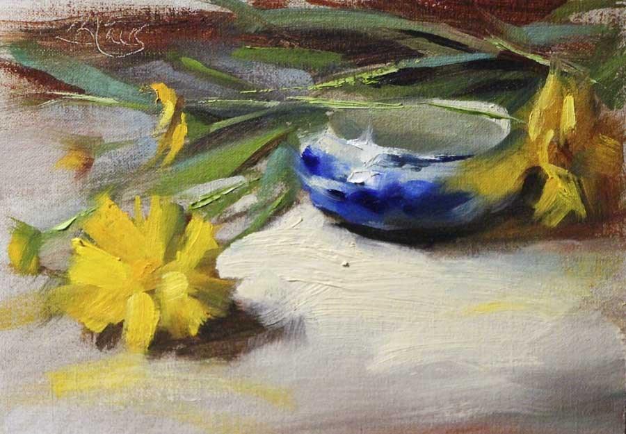 """Flow Blue and Coreopsis"" original fine art by Pamela Blaies"