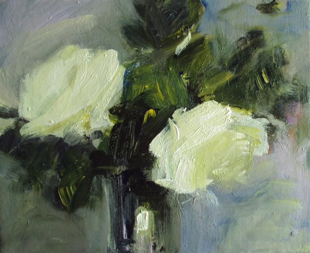 """White roses"" original fine art by Parastoo Ganjei"