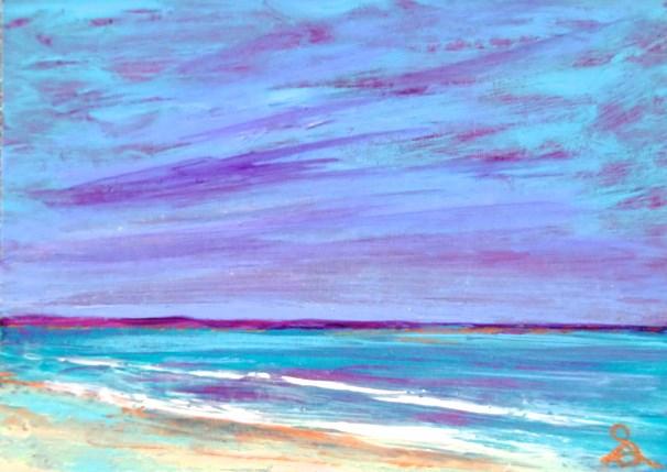 """3214 - VIOLET BEACH - ACEO Series"" original fine art by Sea Dean"