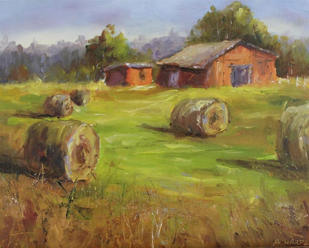 """Original oil barn landscape hay bale haystack painting."" original fine art by Alice Harpel"