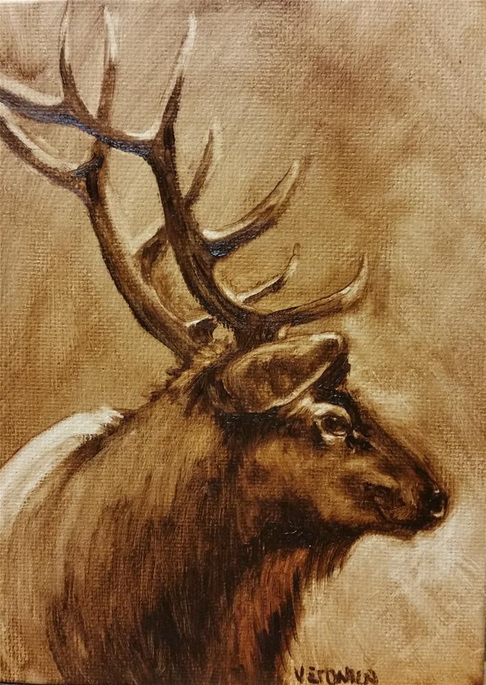 """Bit of bull"" original fine art by Veronica Brown"