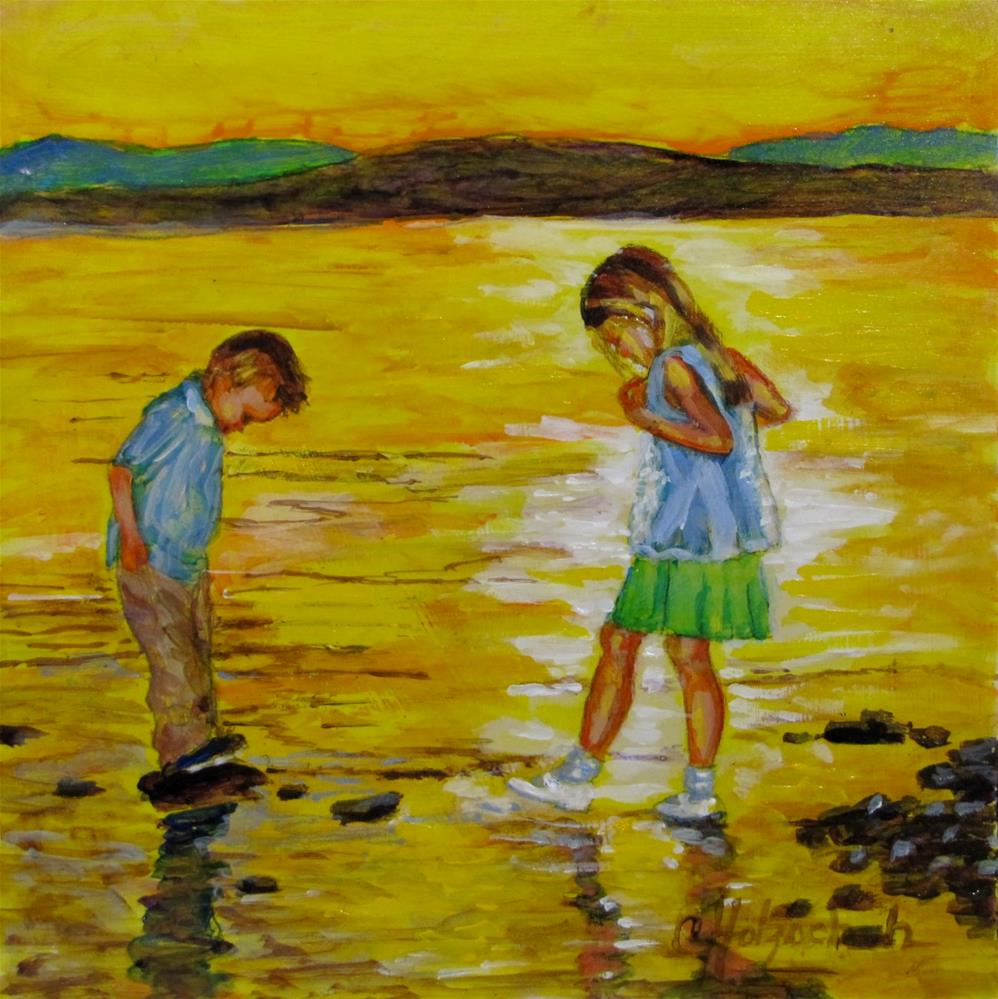 """""""Wading In Gold"""" original fine art by Christine Holzschuh"""