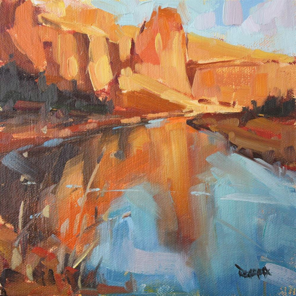 """Bend in the Crooked River at Smith Rock"" original fine art by Cathleen Rehfeld"