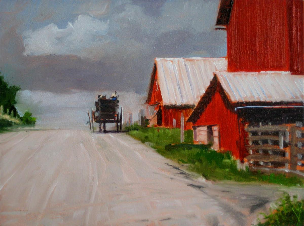 """Passing Jonah's Farm  Amish country, landscape daily painting"" original fine art by Robin Weiss"