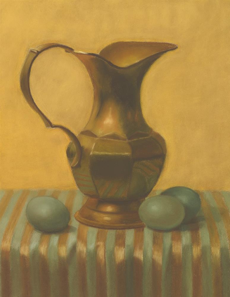 """""""Brass Pitcher with Green Eggs"""" original fine art by Susan Fern"""