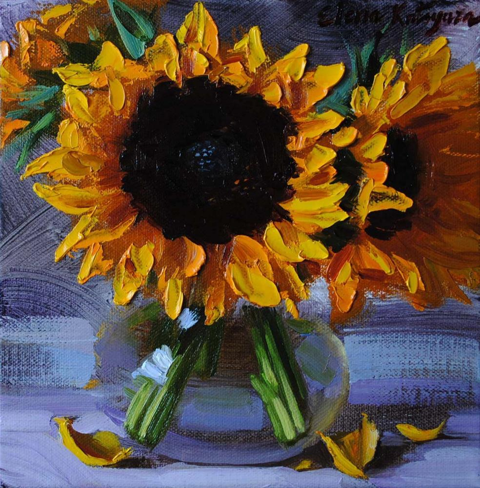 """Sunflowers in a Vase"" original fine art by Elena Katsyura"