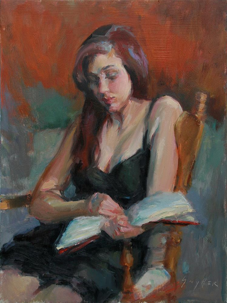 """A Good Book"" original fine art by Julie Snyder"