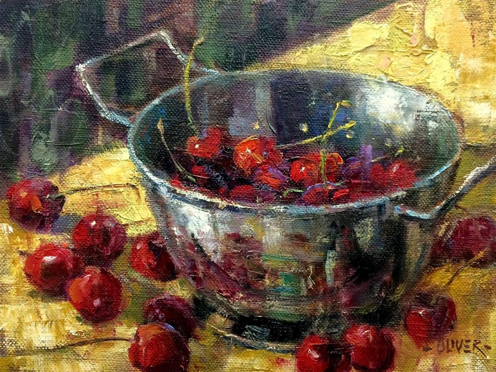 """""""Cherries -   Day 26 in the Challenge"""" original fine art by Julie Ford Oliver"""