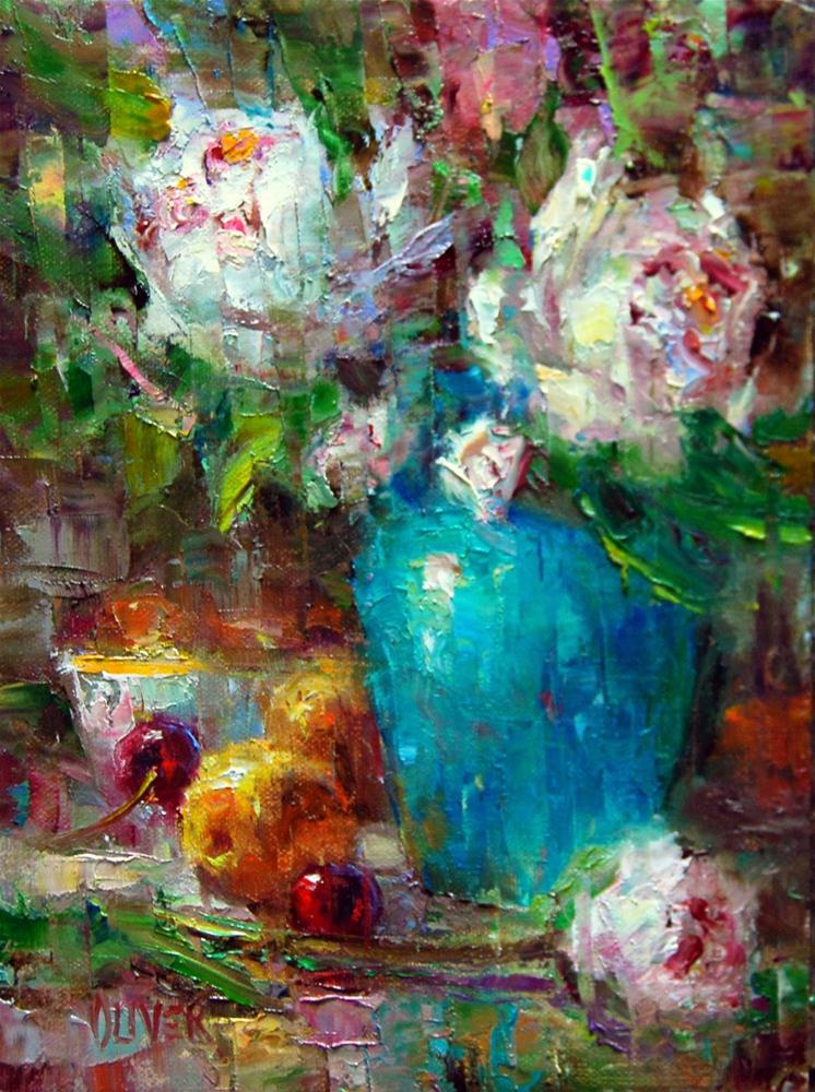 """""""Peonies, Apricots and Turquoise #2"""" original fine art by Julie Ford Oliver"""