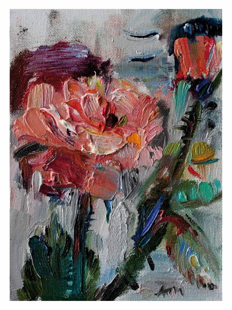 """Pink Rose"" original fine art by Anna Fine Art"