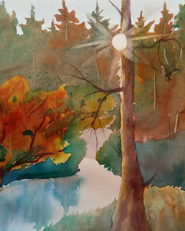 """Lake Disharoon at Dawn"" original fine art by Maria Peagler"
