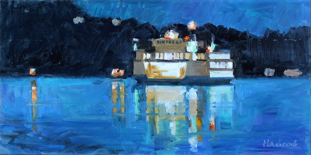 """Night Ferry Near the Dock"" original fine art by Gretchen Hancock"