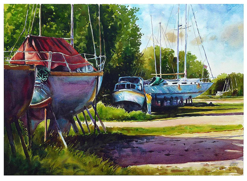 """""""Working on the boat."""" original fine art by Graham Berry"""