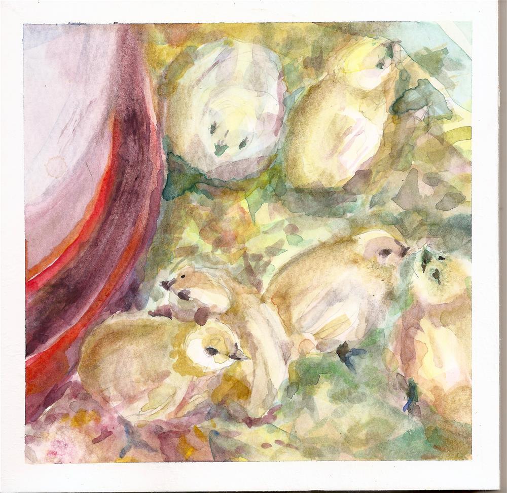 """Baby Chicks"" original fine art by Jean Krueger"