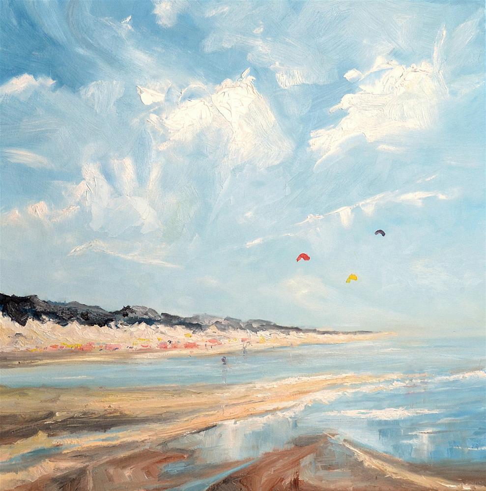 """""""Beach scene Zeeland"""" original fine art by Wim Van De Wege"""