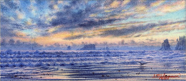 """""Evening over Quillayute Needles"""" original fine art by Steven Thor Johanneson"