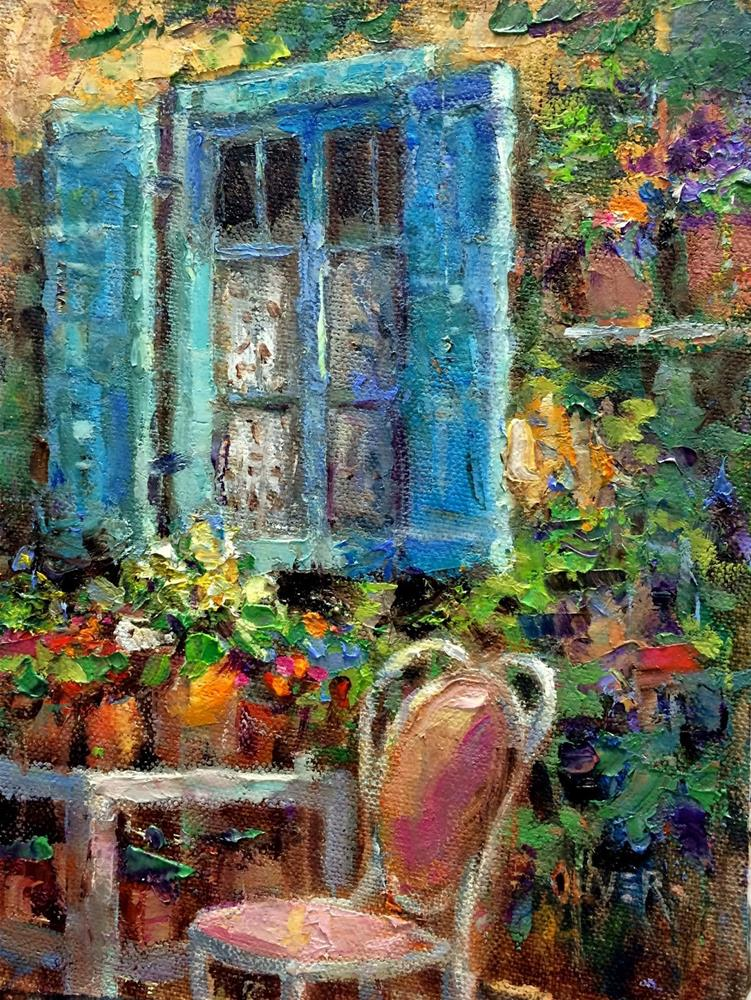 """Blue Shutters And Colors Used"" original fine art by Julie Ford Oliver"