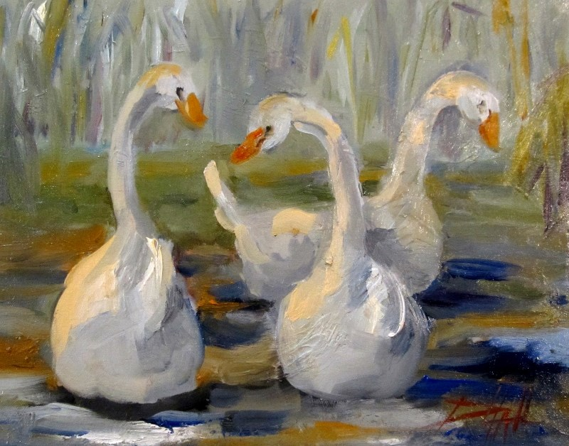 """Swans"" original fine art by Delilah Smith"
