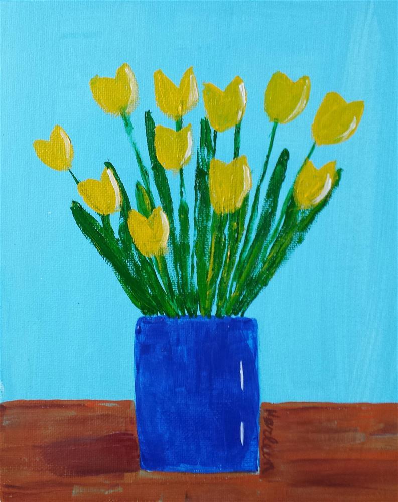 """""""Yellow Tulips"""" original fine art by Karleen Kareem"""