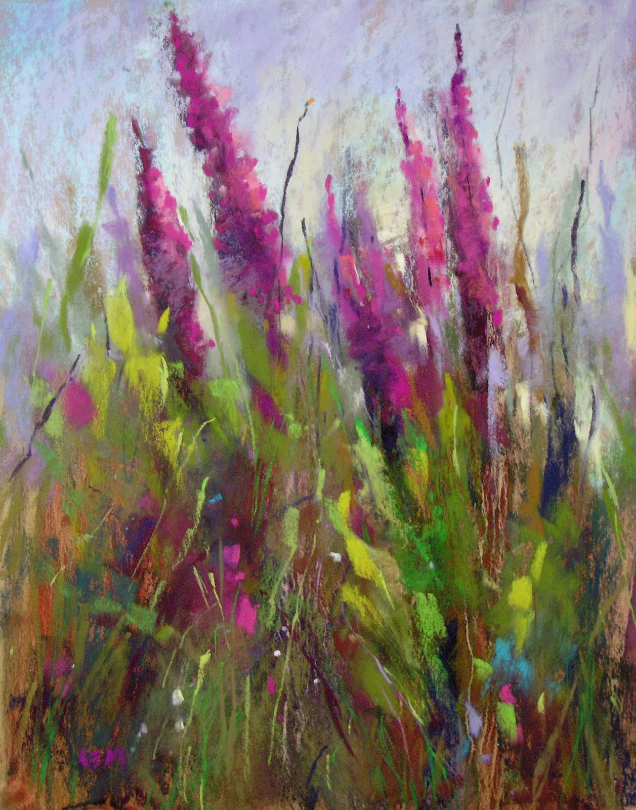 """Nantucket Wildflowers with an oil stain underpainting"" original fine art by Karen Margulis"