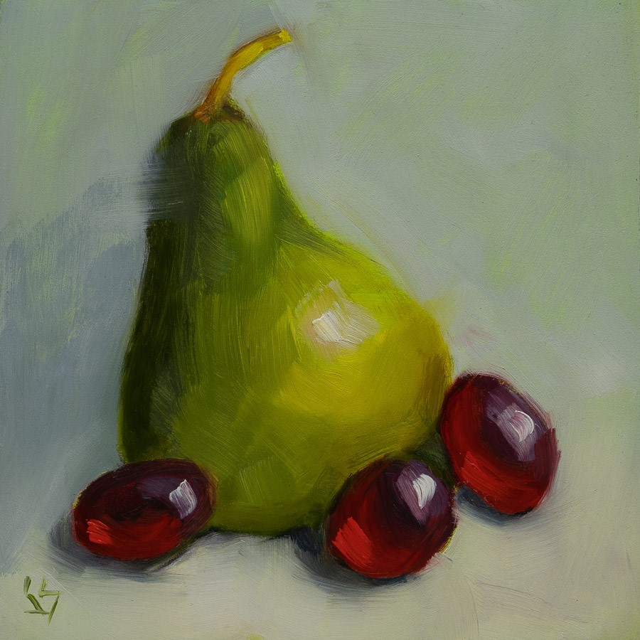 """Pear Pizzazz"" original fine art by Johnna Schelling"