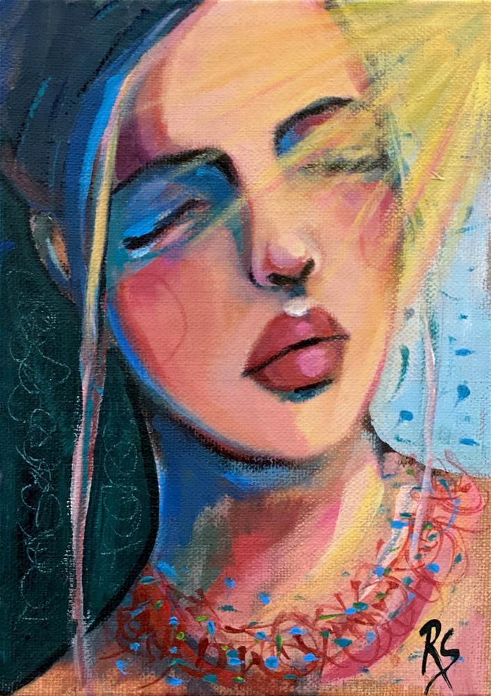 """La Demoiselle et le Soleil "" original fine art by Artcylucy Art by Roberta Schmidt"